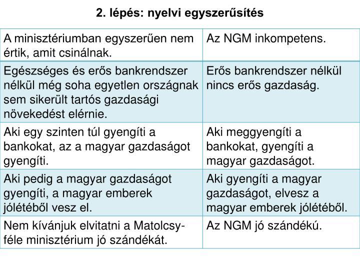 2. lépés: nyelvi egyszerűsítés