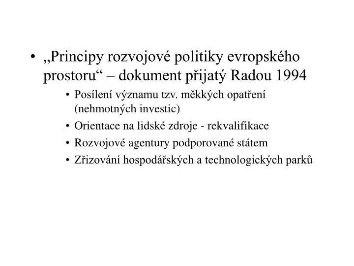 """Principy rozvojové politiky evropského prostoru"" – dokument přijatý Radou 1994"