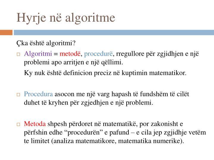 Hyrje në algoritme