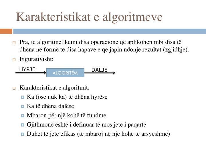 Karakteristikat e algoritmeve