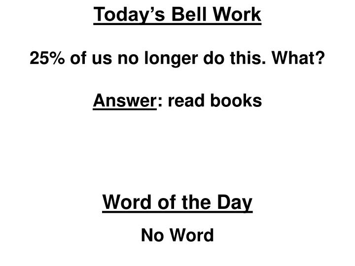 Today's Bell Work
