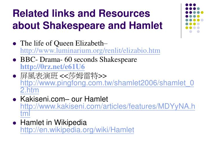 Related links and Resources about Shakespeare and Hamlet