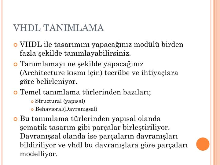 VHDL TANIMLAMA