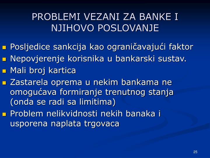 PROBLEMI VEZANI ZA BANKE I NJIHOVO POSLOVANJE