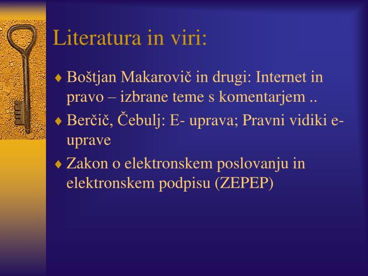 Literatura in viri: