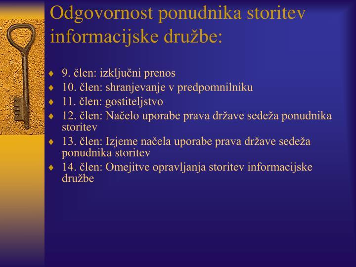 Odgovornost ponudnika storitev informacijske družbe: