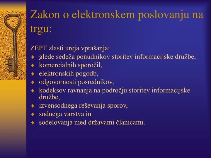 Zakon o elektronskem poslovanju na trgu: