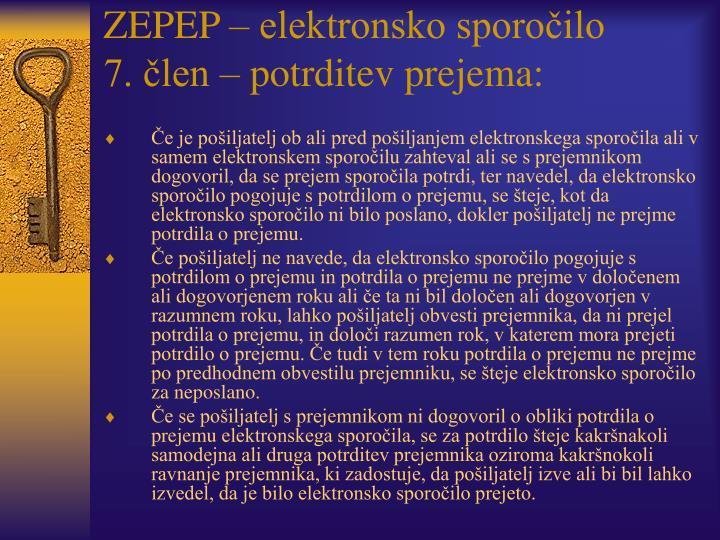 ZEPEP – elektronsko sporočilo