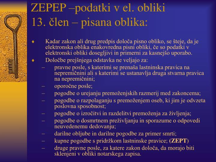 ZEPEP –podatki v el. obliki