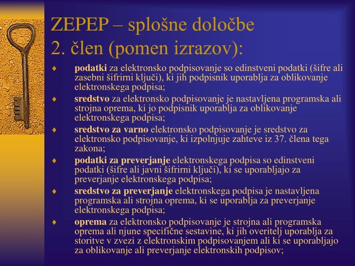 ZEPEP – splošne določbe
