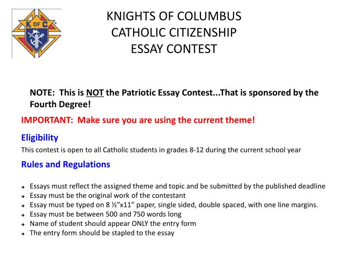 knights of columbus essay contest 2011 Joining the knights of columbus provides these men and their families with  volunteer opportunities and  essay contest & catholic school scholarships.