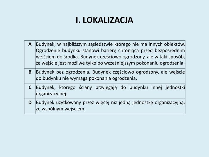 I. LOKALIZACJA