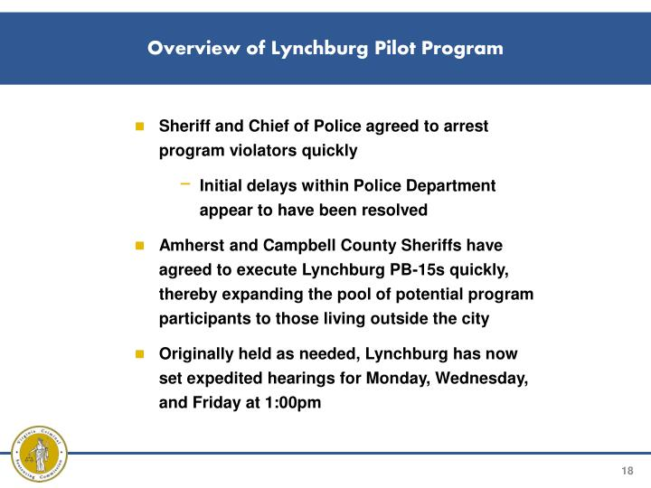 Overview of Lynchburg Pilot Program
