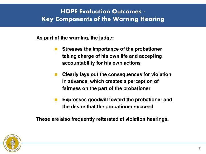 HOPE Evaluation Outcomes -