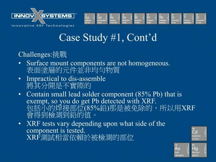 Case Study #1, Cont'd