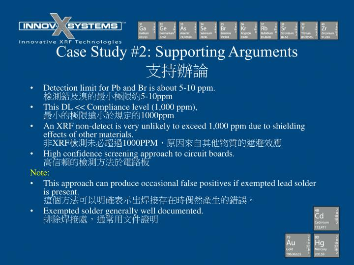 Case Study #2: Supporting Arguments
