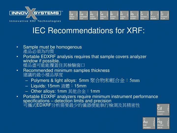 IEC Recommendations for XRF: