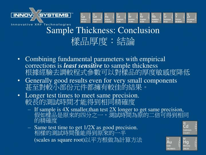 Sample Thickness: Conclusion