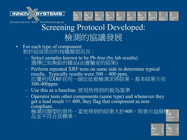 Screening Protocol Developed: