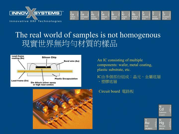 The real world of samples is not homogenous