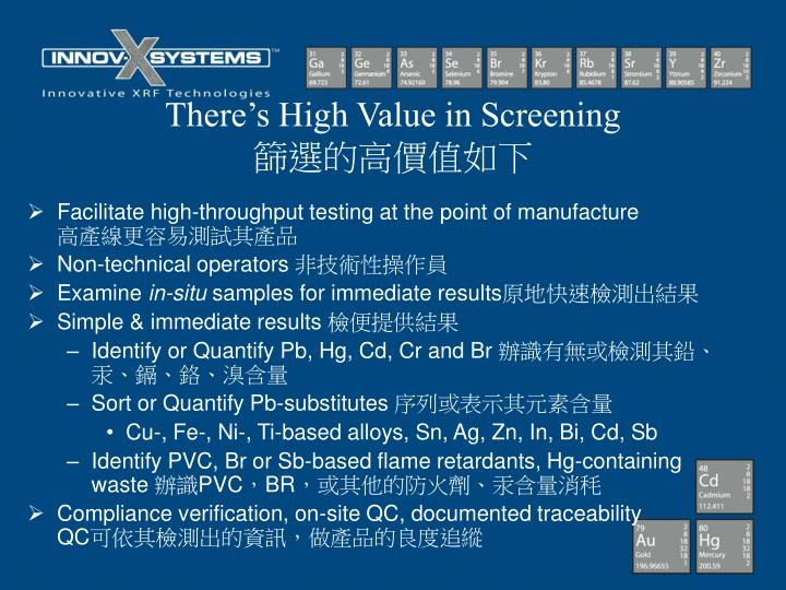 There's High Value in Screening
