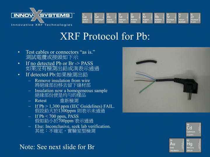 XRF Protocol for Pb: