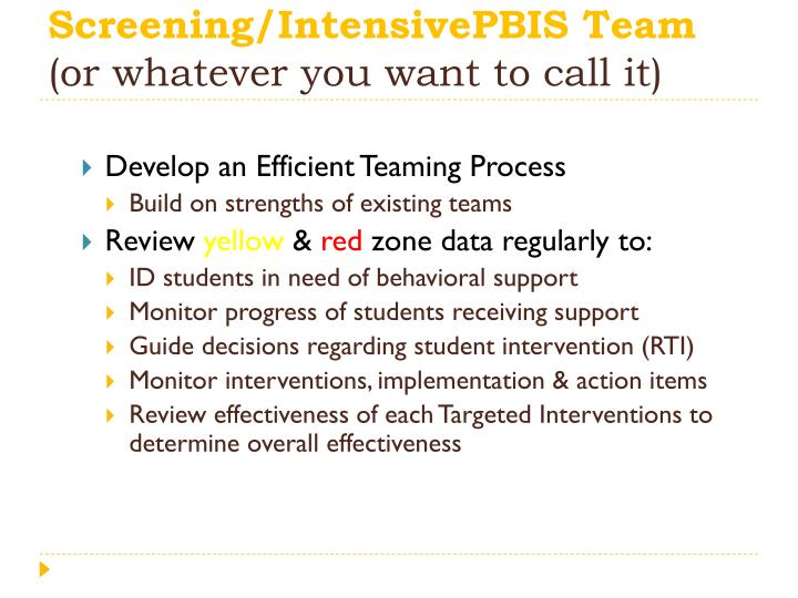 Screening/IntensivePBIS Team