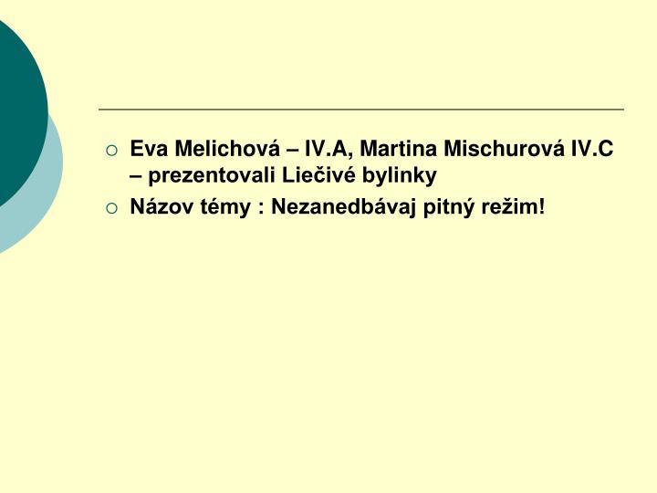 Eva Melichová – IV.A, Martina Mischurová IV.C – prezentovali Liečivé bylinky