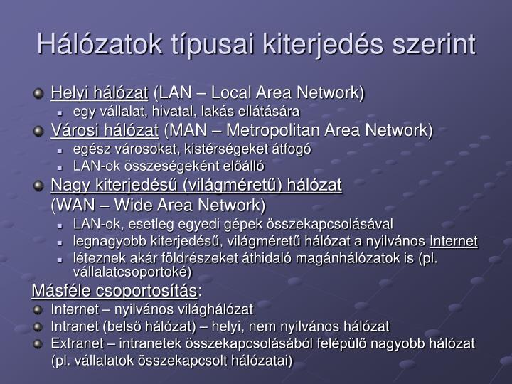 Hálózatok típusai kiterjedés szerint
