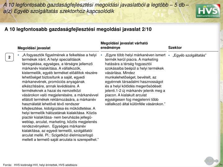 A 10 legfontosabb gazdasgfejlesztsi megoldsi javaslat 2/10