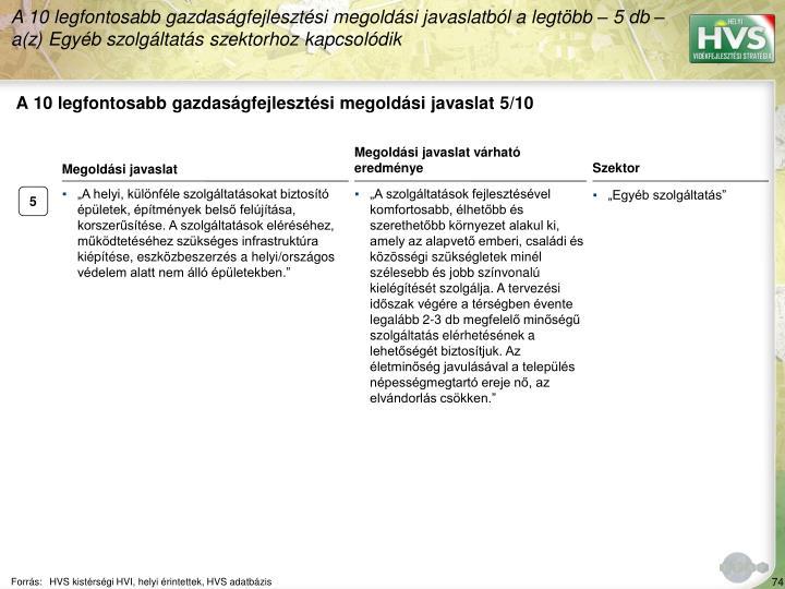A 10 legfontosabb gazdasgfejlesztsi megoldsi javaslat 5/10