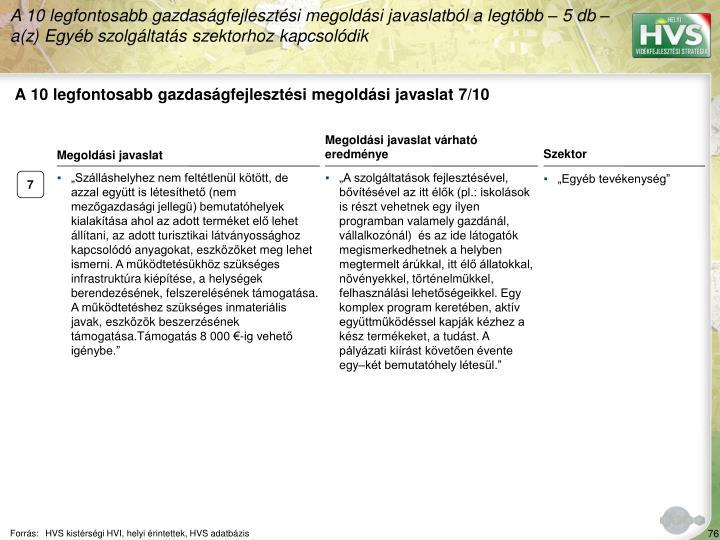 A 10 legfontosabb gazdasgfejlesztsi megoldsi javaslat 7/10