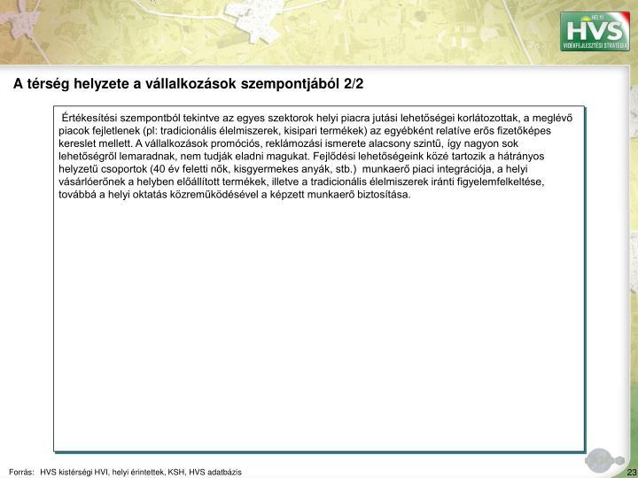 A trsg helyzete a vllalkozsok szempontjbl 2/2