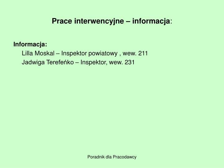 Prace interwencyjne – informacja
