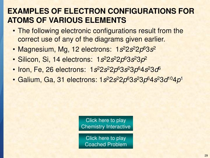 EXAMPLES OF ELECTRON CONFIGURATIONS FOR ATOMS OF VARIOUS ELEMENTS