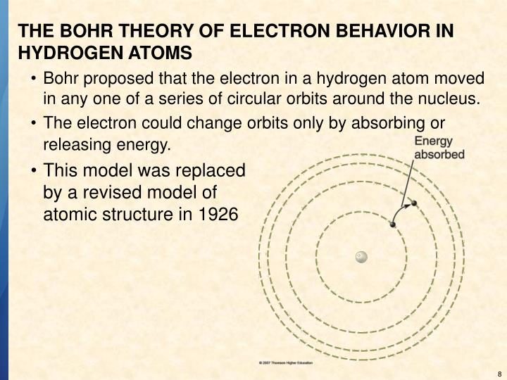 THE BOHR THEORY OF ELECTRON BEHAVIOR IN HYDROGEN ATOMS