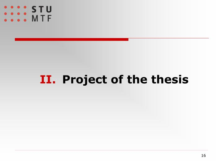 Project of the thesis