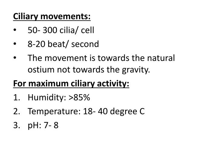 Ciliary movements: