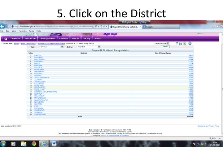 5. Click on the District