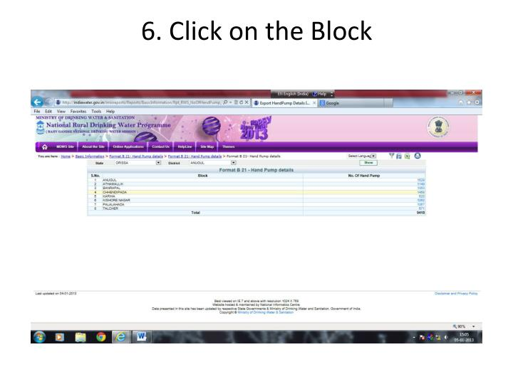 6. Click on the Block