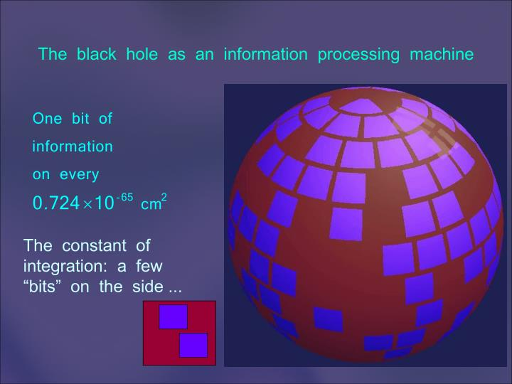 The  black  hole  as  an  information  processing  machine