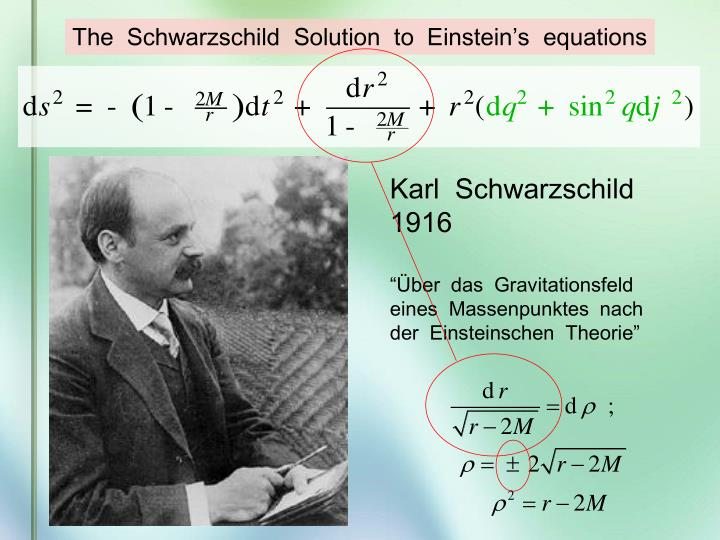 The  Schwarzschild  Solution  to  Einstein's  equations