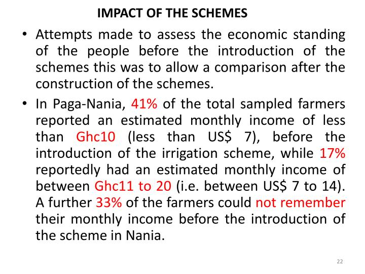 IMPACT OF THE SCHEMES