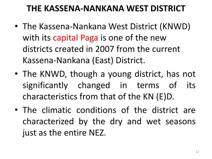 THE KASSENA-NANKANA WEST DISTRICT