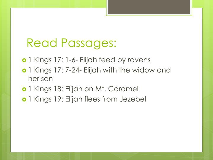 Read Passages: