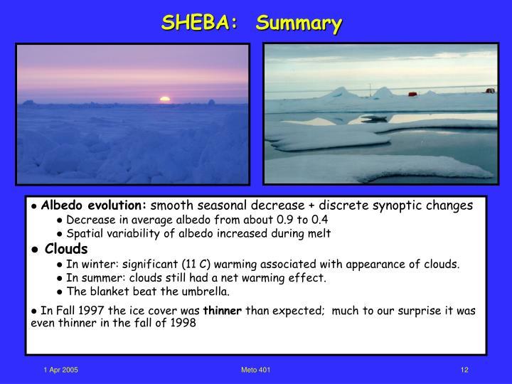 SHEBA:  Summary