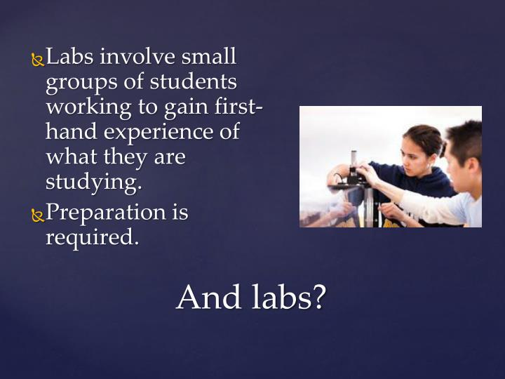 Labs involve small groups of students working to gain first-hand experience of what they are studying.