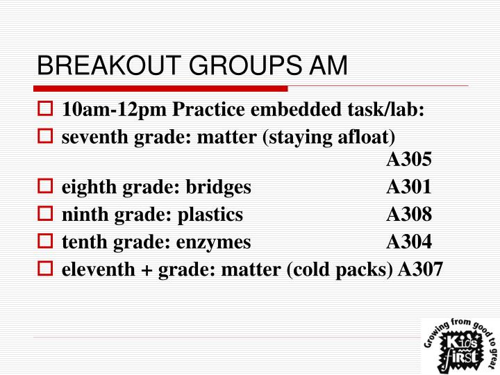 BREAKOUT GROUPS AM