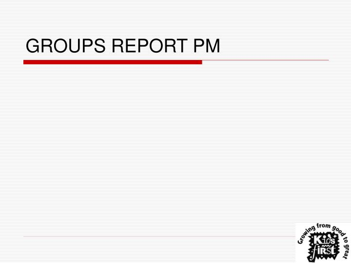 GROUPS REPORT PM