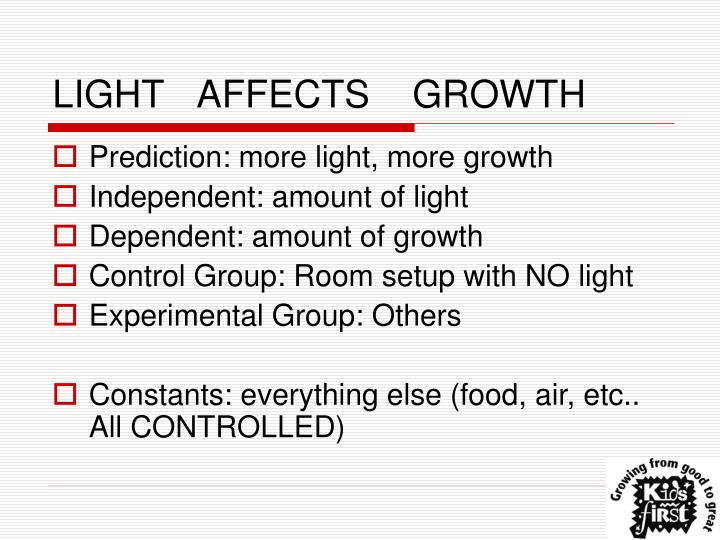 LIGHT	AFFECTS	GROWTH
